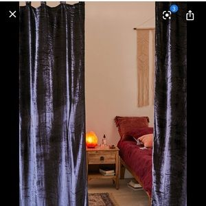 Crushed velvet curtain by urban outfitters 52x84